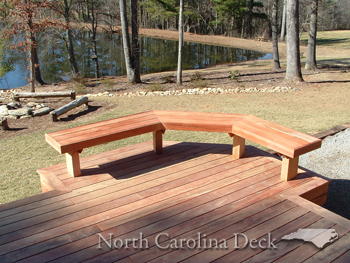 a bench on an ipe deck in NC